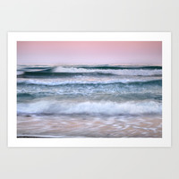 Sea waves. Summer sunset by