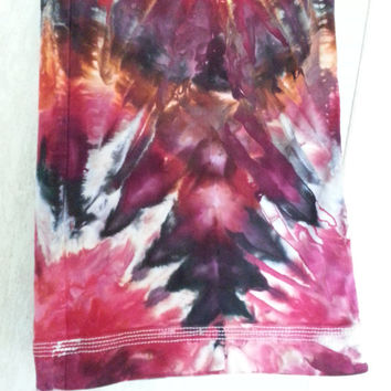 Upcycled stretch denim jeans size 12 tie dye orange, red, black