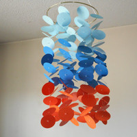 Blue and Orange floating circles paper mobile. Nursery mobile, Crib mobile, Modern room decor,  Choose YourColors!
