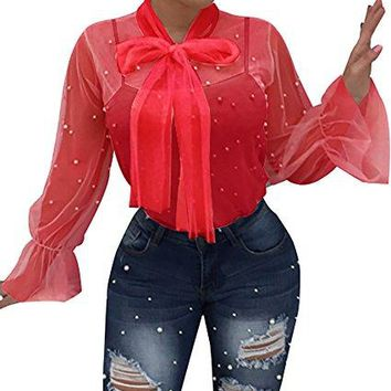 Womens Sexy Lace Long Sleeve See Through Bow Shirts Sheer Chiffon Blouse Tops