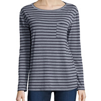 Long-Sleeve Striped Tee W/ Pocket, Size: