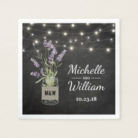 Rustic Lavender Mason Jar Lights Wedding Napkin