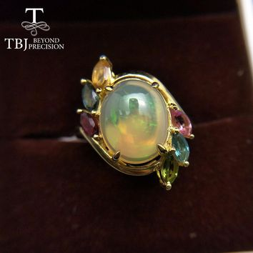 TBJ,Natural Ethiopian Colorful Opal oval 10*12mm with  tourmaline gemstone Ring in 925 sterling silver for women with gift box