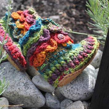 Handmade Crochet Rainbow Crocodile Stitch Booties, Crochet shoes, Crochet socks, Toddler, kids, teenagers, For ADULTS, with LEATHER SOLES