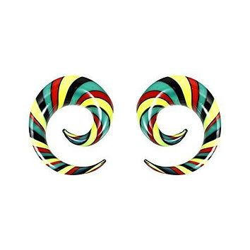 BodyJ4You 2PC Glass Ear Tapers Plugs 6G-14mm Rasta Flag Multicolor Spiral Gauges Piercing Set