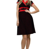 Heartbreaker Black with Red Polka Dot & Trim Jolene Dress - S to XL - Unique Vintage - Bridesmaid & Wedding Dresses