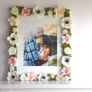 Floral Wooden Picture Frame 11 x 14  8 x 10 Photo // Flower, Nursery, Wedding, Bridal, Baby, Gift, Pink, Anemone , Gallery, Wall Decor Art