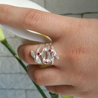 20% off sale! Ruby ring , silver ring , July birthstone , Woodland ring , Leaves Ring , silver leaf ring  , Branch Ring , gift to her