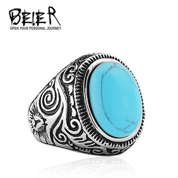 Natural Oval Opal Green Turquoise Ring Stainless Steel Vintage Nobel Palace Ring For Woman Man Europe Middle Ages Style BR8-186