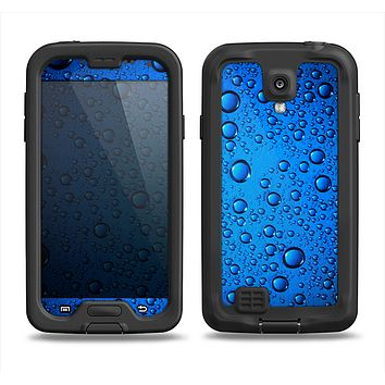 The Glowing Blue Vivid RainDrops Samsung Galaxy S4 LifeProof Fre Case Skin Set