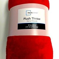Really Red Plush Fleece Throw Blanket 50 Inch X 60 Inch
