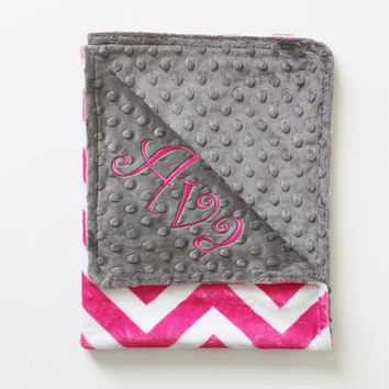 PINK CHEVRON MINKY Baby Stroller Blanket with Gray Dot MInky