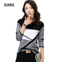 XJXKS New 2017 women sweaters and pullovers; round neck long-sleeved sweater pullover for lady; geometric knitted sweater