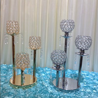 Crystal Home candle stand ornaments Wedding Candlestick wedding table decoration gold and silver