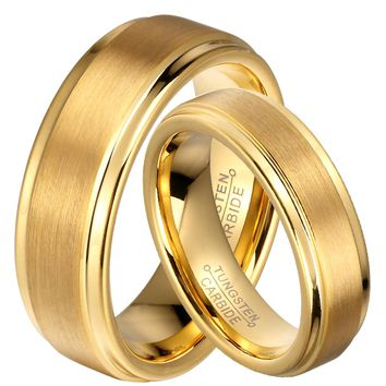 Couple's 18KT Yellow Gold Tungsten Carbide Wedding Band Comfort Set