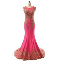 Modern Long Mermaid Lace Formal Dresses for Women on Prom Evening Party with Tulle Neck and Court Train