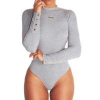 Sexy Tightening Coveralls Button long sleeves siamese short pants