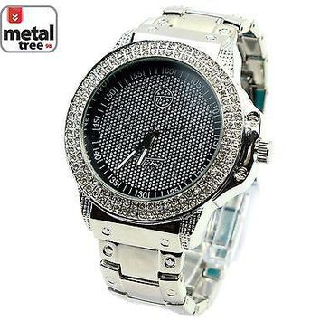 Jewelry Kay style Men's Rapper Hip Hop Iced Out Fashion Silver Plated Metal Band Watches 6189 SLBK
