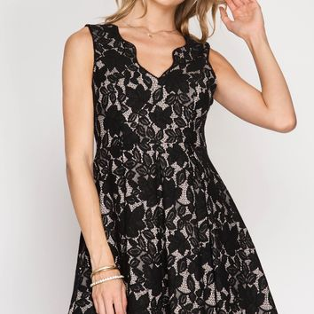 Black Scalloped Lace Fit + Flare Dress