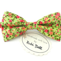 Bow Tie - bright green floral bow tie - wedding bow tie - bright green bow tie with pink flower pattern - mens bow tie - gifts for him