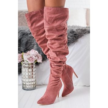 Day Delight Slouchy Boots (Dusty Pink)