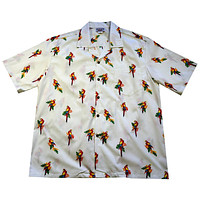 Parrots White Cotton Hawaiian Shirt