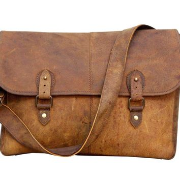 IN-INDIA Real Buffalo Leather Regular Use Stylish Hunter Messenger Bag -Fits Laptop Upto 15.6 Inches