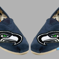 Hand painted Toms. Seattle Seahawks. Go Hawks. Football. Superbowl.12th man. Handpainted shoes.