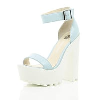 River Island Womens Blue leather chunky cleated sole platforms