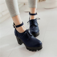 Gothic Punk Plus Size Mary Janes Womens Round Toe Lace Up Block Chunky High Heel Platform Pumps Roma Shoes-in Women's Pumps from Shoes on Aliexpress.com | Alibaba Group
