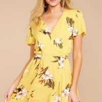 My Kind Of Spring Yellow Floral Print Dress
