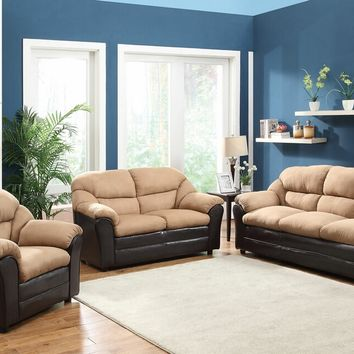 2 pc Connell collection two tone saddle microfiber and espresso vinyl upholstered sofa and love seat set
