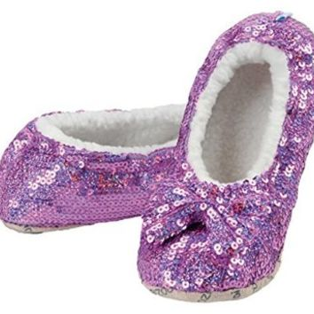 snoozies! Womens Sequin Glam Slippers with Split Comfort Fit Indoor Sole