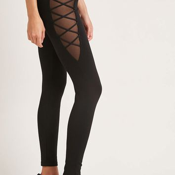 Sheer Mesh Lace-Up Leggings