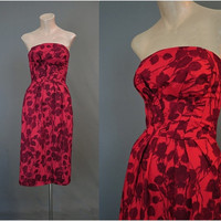 1950s Red Floral Strapless Dress, fits 34 bust, Dark Red Floral, 1950s, Summer, VLV, small
