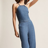 Denim High-Neck Jumpsuit