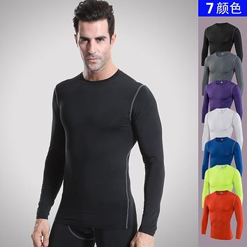 Fitness Compression Shirt Men Gyms T-shirts Bodybuilding Clothing Quick Drying Long Sleeve t shirt Cross fit Tops