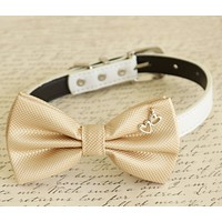 Champagne Dog Bow tie collar, Heart Charm, Birthday Gift, Pet Wedding