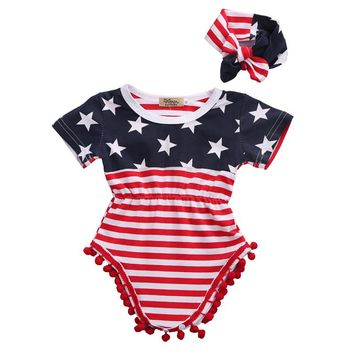 2pcs Newborn Baby Boy Girl USA Flag Pattern Tassel Balls Summer Short Sleeve Romper Jumpsuit +Headband Clothes Outfit Set