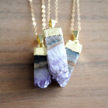 "Amethyst Necklace, Raw Crystal Necklace, Gold Plated on 18"" 14K Gold Filled Chain, Purple Stone, Gold Edged Necklace, Amethyst Square"