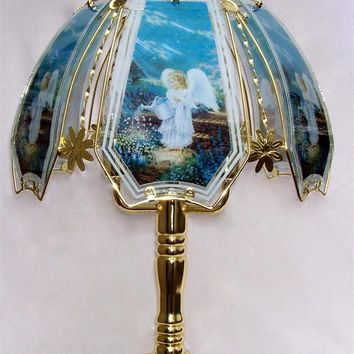 Angel in The Garden Brass Finish Touch Lamp