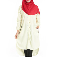 Muslim Long Shirt Solid Color Women Garments  beige