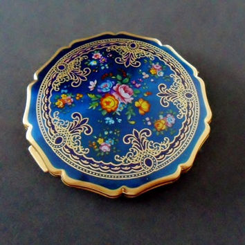 70s Vintage Stratton Compact Deep Blue Flowers Gold Powder Puff Mirror Face Makeup Vintage Vanity Round 1970s Purse Compact