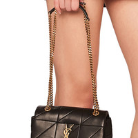 Saint Laurent Small Patchwork Leather Monogramme Jamie Chain Bag in Black | FWRD