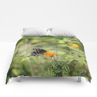 Black Swallowtail In The Garden Comforters by Theresa Campbell D'August Art