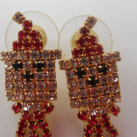 "Vintage Earrings Gold and Red Santa Claus with Rhinestones 3/4"" Christmas Jewelry Santa - Rudolph - Holiday"