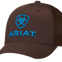 Ariat Blue Logo Embroidered Flex Fit Brown Cap
