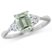 1.09ct. Natural Green Amethyst & White Topaz 925 Sterling Silver Engagement Ring Size 6