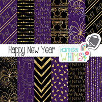 "New Years Digital Paper - ""Happy New Year"" - purple black and gold 2017 New Years seamless patterns - scrapbook paper - commercial use CU OK"