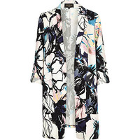 River Island Womens Pink floral crepe duster jacket